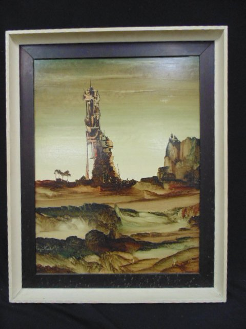 Oil on artist board, surreal landscape, sgd. Joaguin