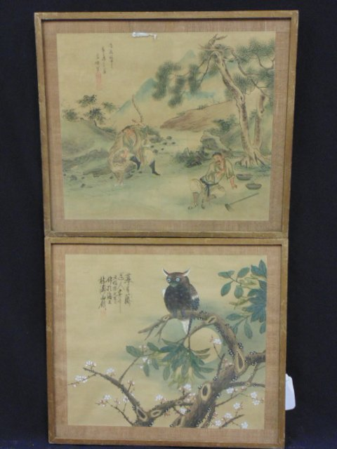 Pair Chinese watercolors on silk, one with owl, signed
