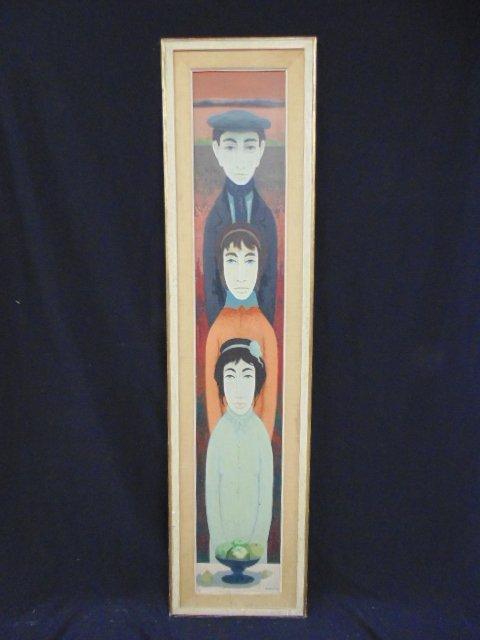 Mid Century vertical family portrait, signed Boccacci