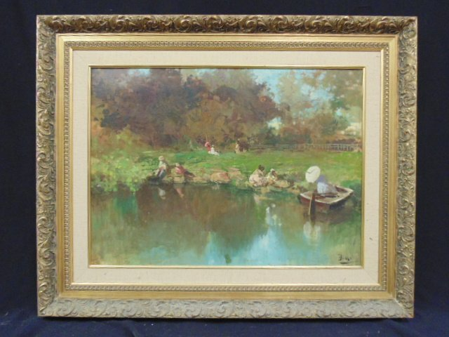 Oil on canvas, post impressionistic, figures by lake,