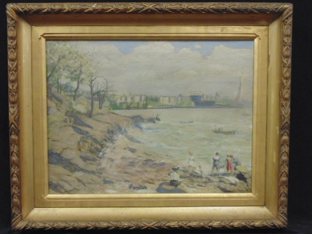 "Painting, ""A squall on the Hudson, 1911"", sgd. M.H."