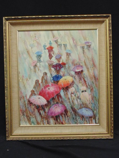 "Oil on panel, ""April Umbrellas"", signed T. Ramon"