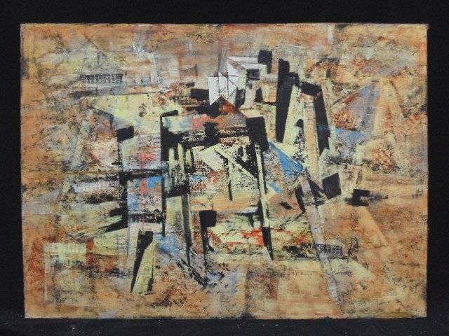 "Abstract oil, ""Utility"", signed Ray Ridabock"