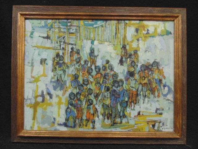Oil on canvas, group of people, signed Cabaniss