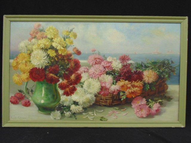 Oil canvas, floral still-life, signed Emily Shlinger