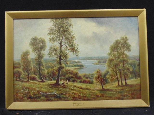 "Oil on canvas, ""On the Severn"", signed S.Y. Johnson"