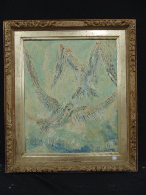 "Oil on panel, ""Gulls"", signed Harriet Scherer"