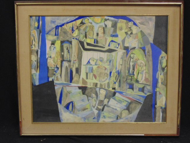 Watercolor, modernistic scene, signed Paul Shimon