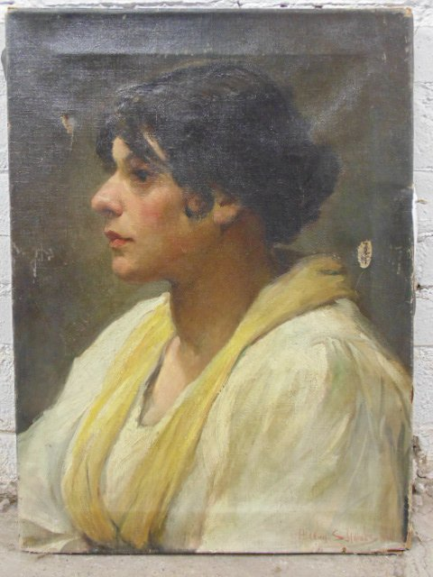 Oil canvas, portrait lady, by Einrich August Schwabe,