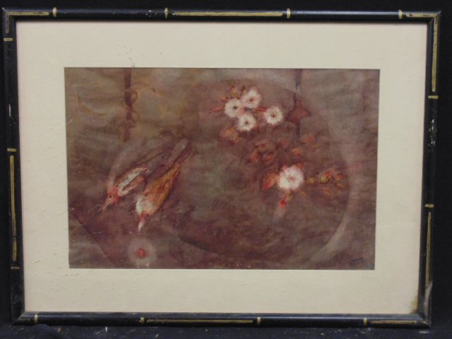 Mixed media, birds, signed Matabee Goto