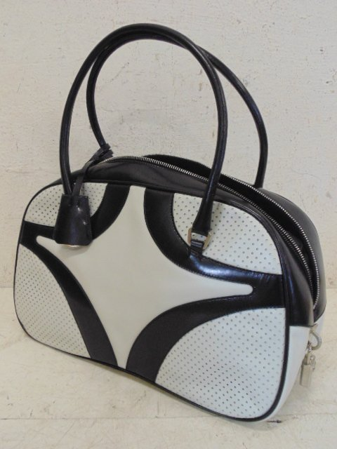 Prada bowler bag black & white leather