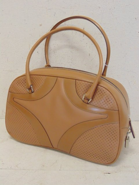 Prada bowler bag tan leather original tags