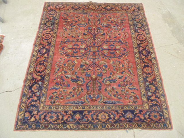 """Persian rug, blue & red, 6'2"""" by 5'3""""."""
