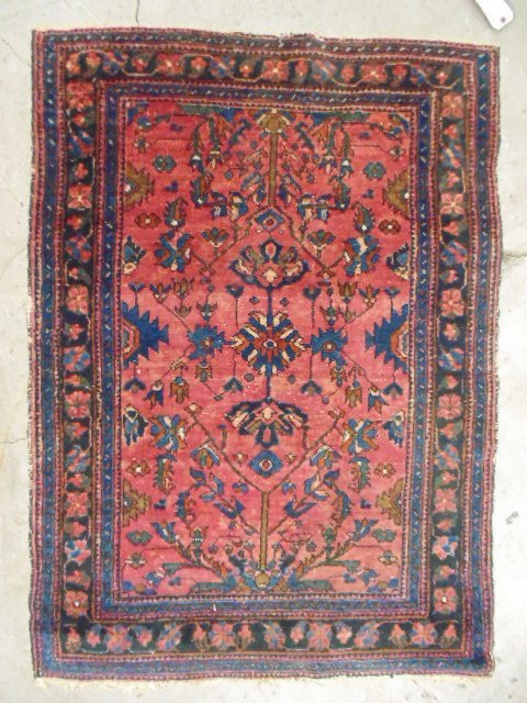 """Small red & blue Persian scatter rug, 4'8"""" by 3'4""""."""