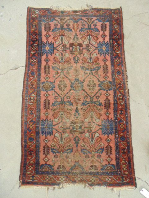 """Persian scatter rug, blue red, some worn, 6'2"""" by 3'5""""."""