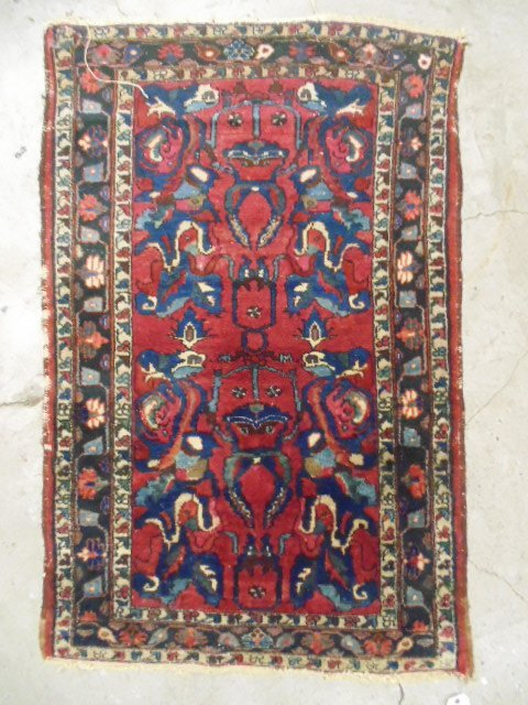 """Scatter rug, red & blue, 4'10"""" by 3'2""""."""