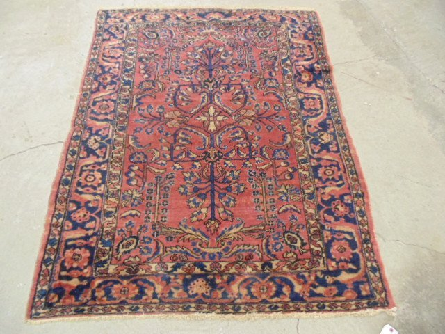 """Scatter rug, Persian, red, 6' by 4'9""""."""