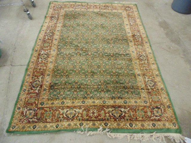 "Handmade Indian wool rug, 8'5"" by 6'1"", green"