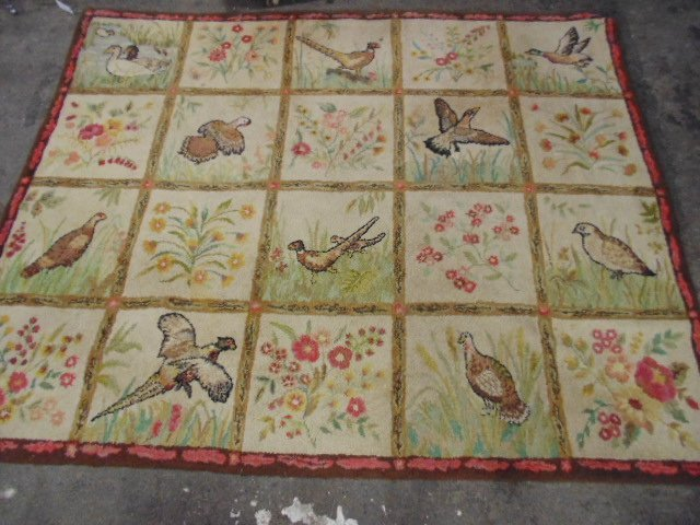 Hooked rug with pictorial bird & floral scenes,