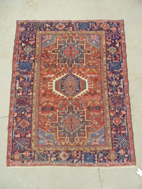 """Persian scatter rug, 6' by 4'8""""."""