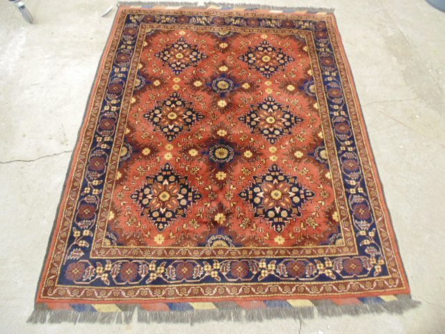 """Carpet, brown, 6 medallions, 6'2"""" by 5'2""""."""