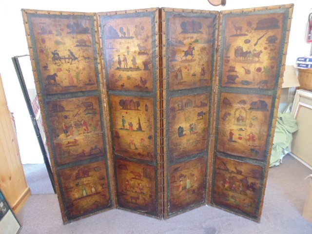 Leather paint decorated room screen,