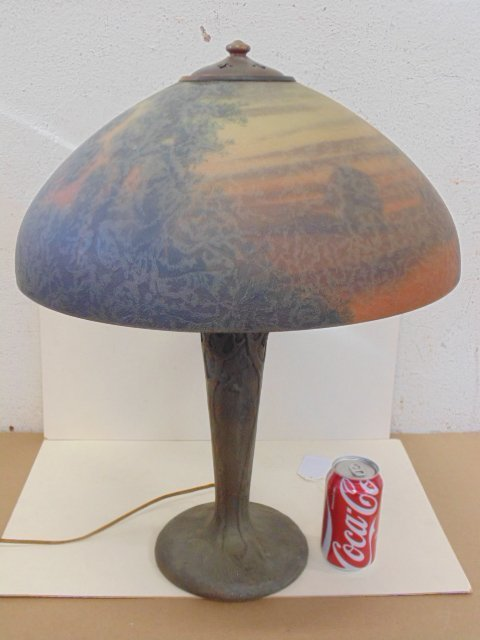 Handel table lamp, original Spelter base with tree