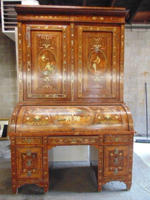 Italian inlaid bookcase secretary desk from the