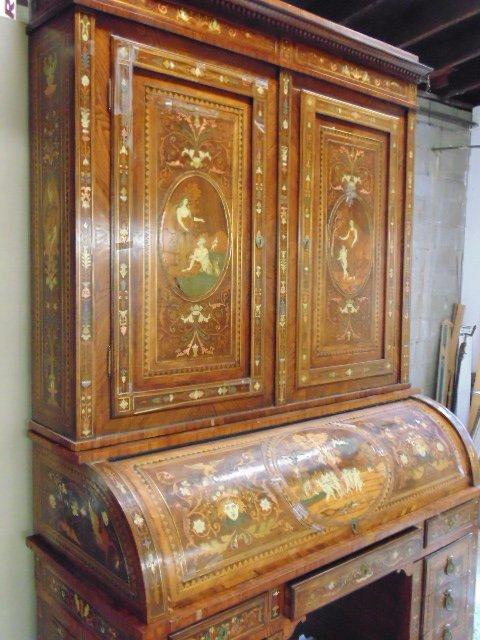 Italian inlaid bookcase secretary desk from the - 2