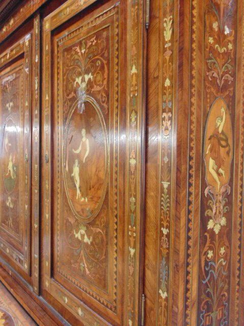 Italian inlaid bookcase secretary desk from the - 5
