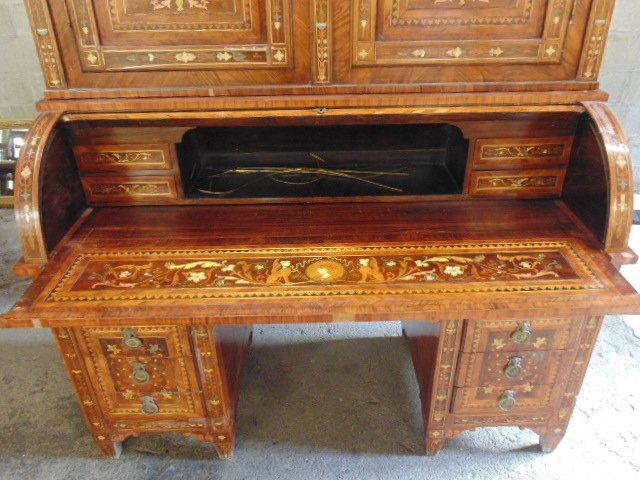 Italian inlaid bookcase secretary desk from the - 7