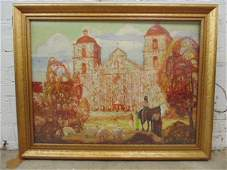oil on canvas, church, building, Indians, sheep,