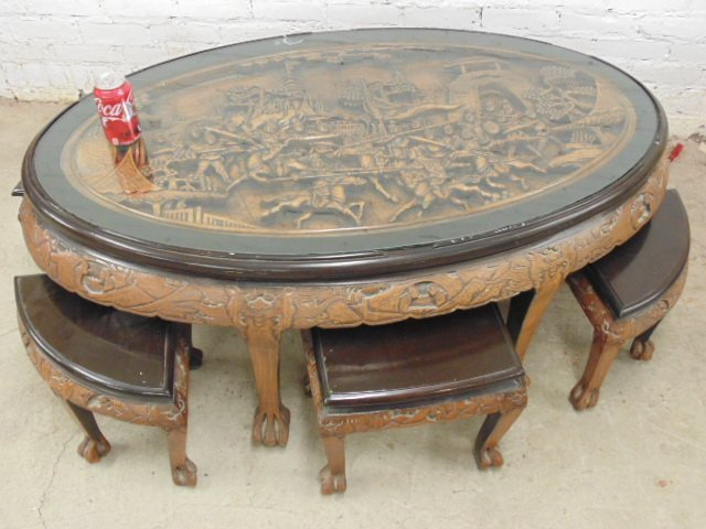 Chinese coffee table with 6 small stools