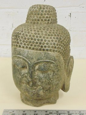 "Early carved stone head of Buddha, 9"" tall"