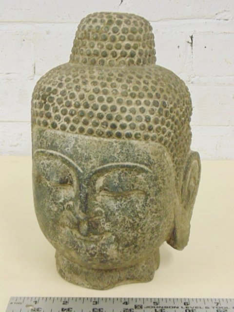 """Early carved stone head of Buddha, 9"""" tall"""