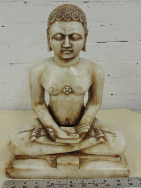 Carved marble seated Buddha, 14.75 tall