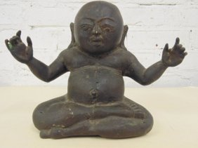 Small bronze Buddha, hollow case, spread arms