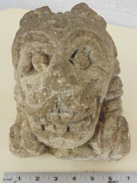 Indian carved stone temple carving, dragon head