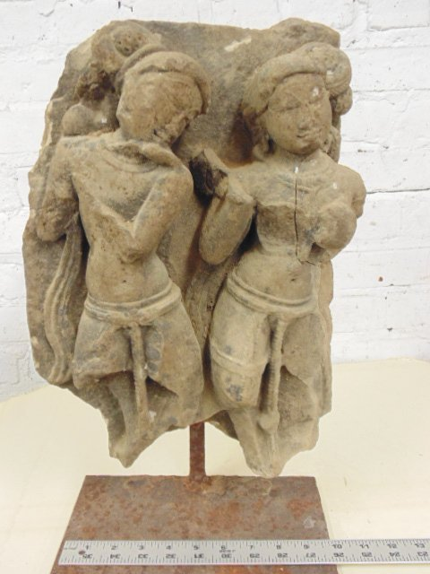 Carved stone temple fragment, 2 dancing figures