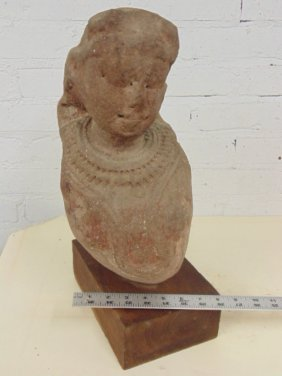 Early stone carving, Asian bust, figure with necklace