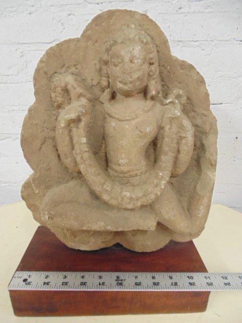 Sandstone carving, Asian figure, dancer