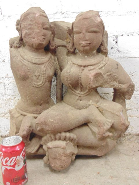 Stone carving, Indonesian (java) 2 figures, red stone