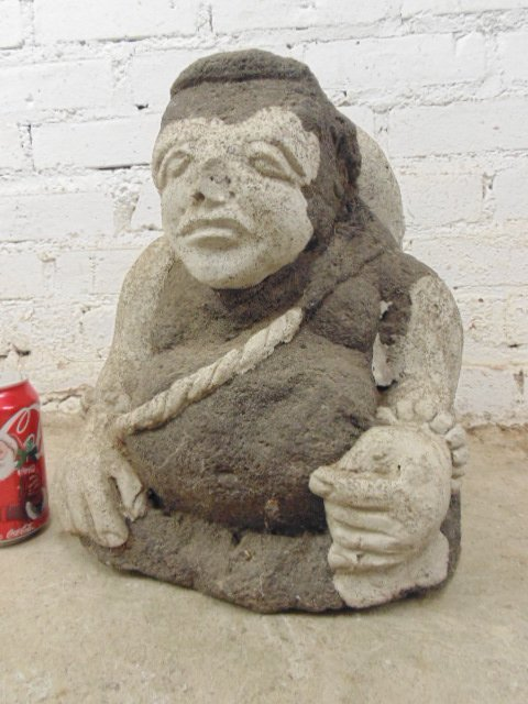 Stone & cement figure seated on chair