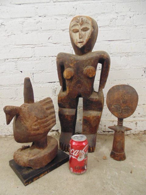 Lot 3 carved African pieces, figural, all show age