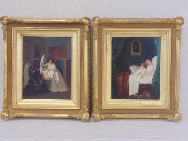Pair oil on canvas, estate of Princess Massimo Savoy