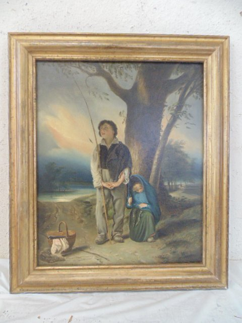 Oil on canvas, French school, praying for catch