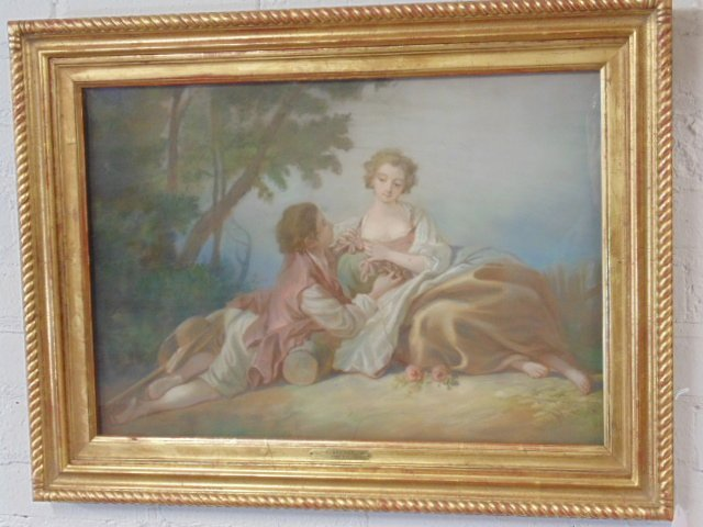 Pastel, courting scene, by F. Boucher