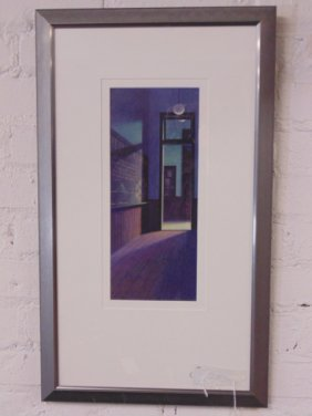 Gouache, hallway with blackboard, signed Charles