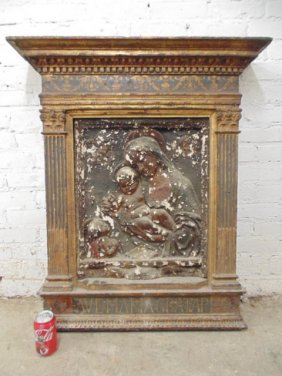 Italian Freeze In Decorated Wood Frame, Madonna & Child