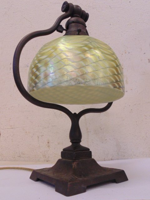 Tiffany desk lamp with Favrile shade, harp, - 2